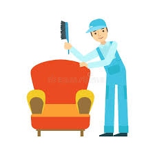 Clipart Armchair Man Dusting Armchair With Brush Cleaning Service Professional
