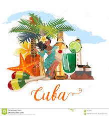 Map Cuba Cuba Travel Colorful Banner Concept With Cuban Map Cuban Beach