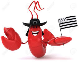 Breton Flag Lobster Wearing Hat And Holding Flag Of Brittany Stock Photo