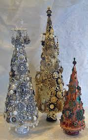 jeweled trees made from paper mache cones to see more of my art