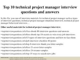 Technical Project Manager Resume Top10technicalprojectmanagerinterviewquestionsandanswers 150328010941 Conversion Gate01 Thumbnail 4 Jpg Cb U003d1427523035