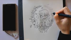 autumn drawing on bamboo slate youtube