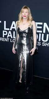 courtney love flashes her cleavage at saint laurent by hedi