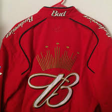 Red Flag Nascar Red Nascar Bud Racing Motorcycle Jacket Size 8 M Tradesy