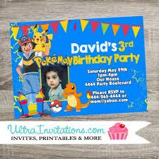 pokemon personalized party invitations printable birthday invites