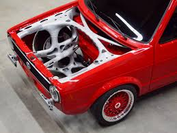volkswagen classic car vw caddy fitted with 3d printed front end structure