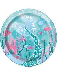 vaisselle jetable fete 8 petites assiettes en carton jolie sirène 17 5 cm décoration