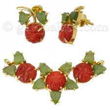 jade gold necklace images Pendant and earring set with coral and jade 22k gold gold jewelry jpg