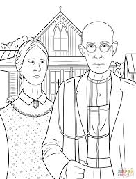 american gothic by grant wood coloring page free printable