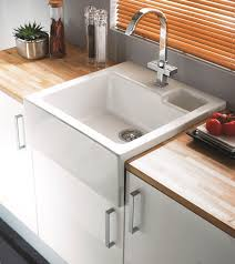 decorating wood countertop with apron front sink and graff