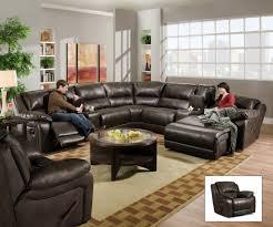 Black Leather Sectional Sofa Living Room U Shaped Black Leather Sectional Sofas With Recliners