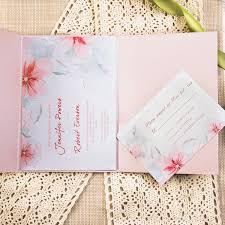 cheap watercolor flower ribbon pocket wedding