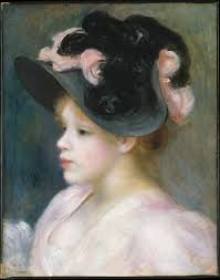 women hairstyle france 1919 young girl in a pink and black hat auguste renoir french limoges