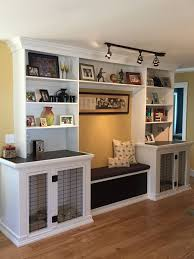 dog kennels bench seat with storage and built in bookshelves for