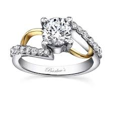 yellow gold wedding band with white gold engagement ring yellow and white gold engagement rings barkev s two tone white