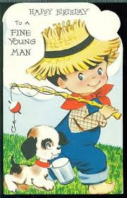 vintage greeting card happy birthday to a fine young man boy
