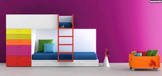 schrank design hochbett modern design schrank stauraum pink wand bunte farben