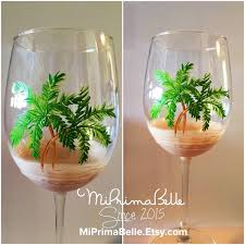 wine themed gifts painted wine glasses theme palm trees design wine