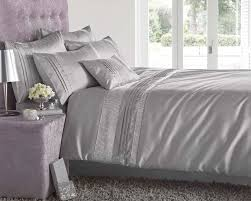 king size grey u0026 silver diamante faux silk duvet cover bed set