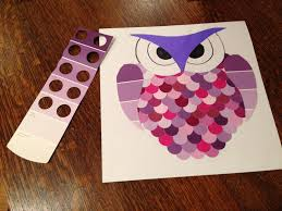 owl made from paint chips recycled art projects for kids