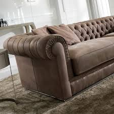 Leather Button Sofa High End Italian Nubuck Leather Button Upholstered Sofa