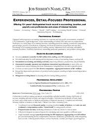 cpa resume accounting resume sle free