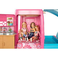 barbie cars with back seats barbie pop up camper vehicle mattel toys