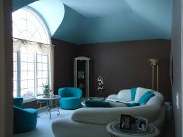 interior living room decoration with turquoise wall paint and