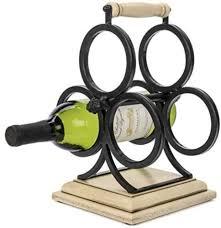 wellington countertop wrought iron metal and wood wine rack 3