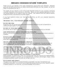 should resume have objective inroads standard resume templates resume business