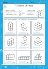 volumes of cubes math practice worksheet grade 3 teachervision