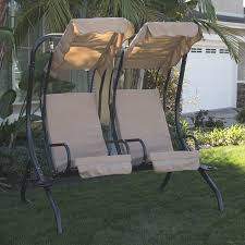 new outdoor swing set 2 person patio frame padded seat furniture