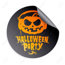 free halloween party clipart halloween party sticker with pumpkin wear headphones royalty free