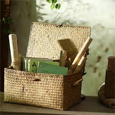 online shop woven seagrass storage basket with lid natural clothe