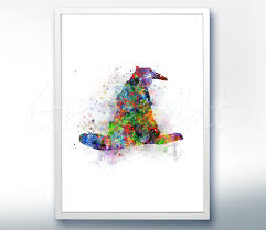 harry potter sorting hat wizard watercolor art poster print