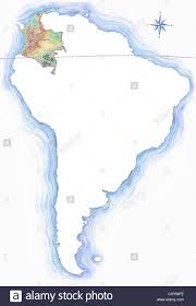Outline Map Of South America by Highly Detailed Hand Drawn Map Of Colombia Within The Outline Of