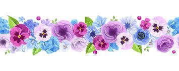 Blue And Purple Flowers Horizontal Seamless Background With Blue And Purple Flowers