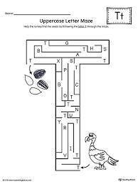 uppercase letter t maze worksheet myteachingstation com