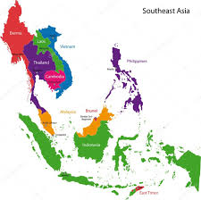Asia Map Countries Southeastern Asia Map U2014 Stock Vector Volina 2984749