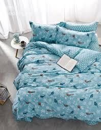 full size cartoon birds print blue cotton 4 piece bedding sets