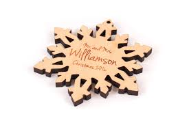 personalized snowflake wooden ornament smiling tree