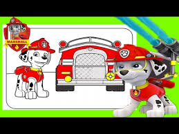 firefighter paw patrol coloring video nick jr fire truck heroes