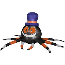 Halloween Outdoor Inflatables by Shop Gemmy 3 6 Ft Inflatable Outdoor Spider With Witch Hat And Led