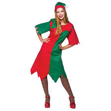 elf lady green red christmas party fun fancy dress costume