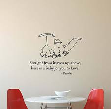 Nursery Wall Decal Dumbo Disney Wall Decal Quote Vinyl Sticker Poster Baby Nursery
