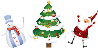 transparent christmas santa tree and snowman png clipart