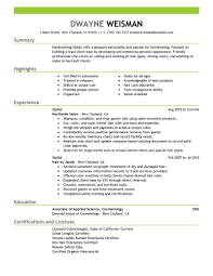 Hair Stylist Resume Samples by Resume For Hairstylist Berathen Com