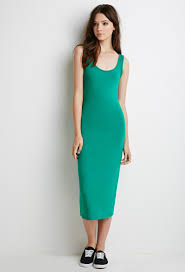 forever 21 classic midi dress in green lyst