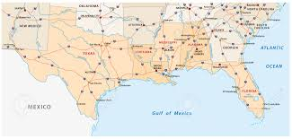 Mexico States Map by Map Of The Five Us States On The Gulf Of Mexico Royalty Free