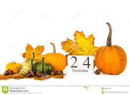pumpkins and autumn leaves with date 24 november thanksgiving